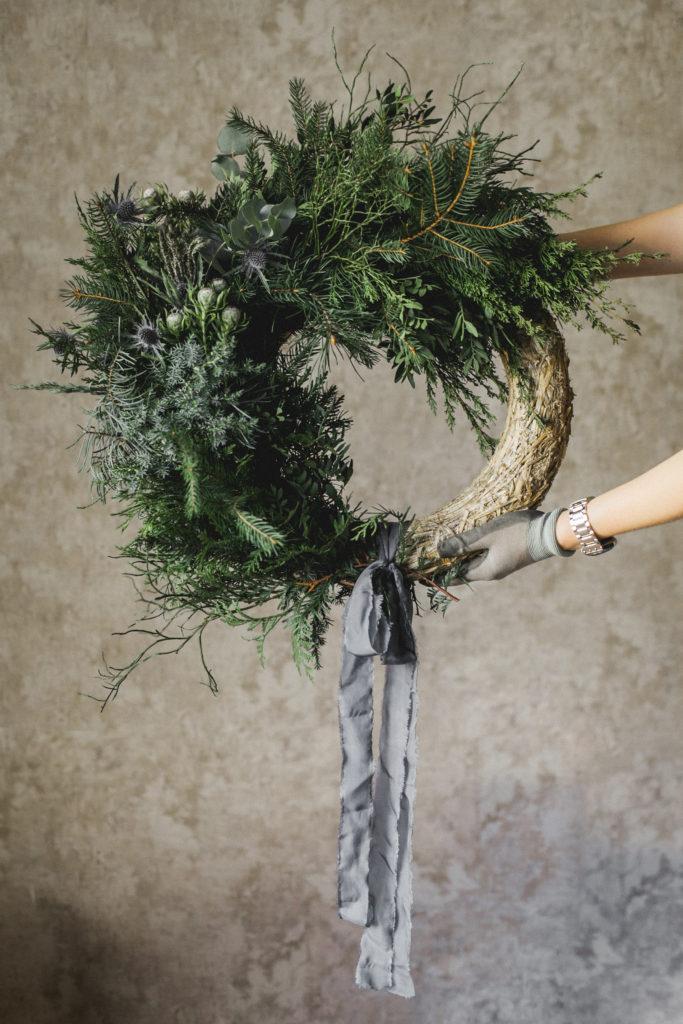 Блог о флористике Маши Кравченко, рождественский декор, венок, венок на двери